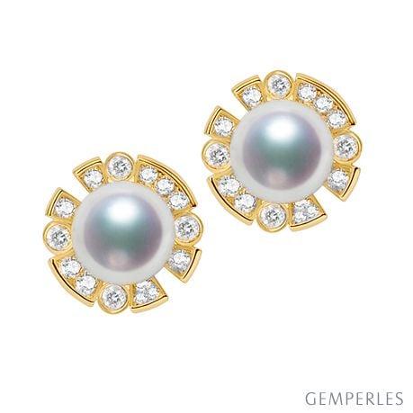 Boucles Oreilles Fleur Luxe. Perles Akoya, Or jaune, Diamants