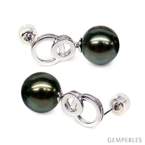 Boucles oreilles anneaux - Perles de Tahiti noires - Or blanc, Diamants