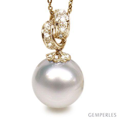 Pendentif Tasman enroulé - Perle d'Australie - Or jaune, diamants