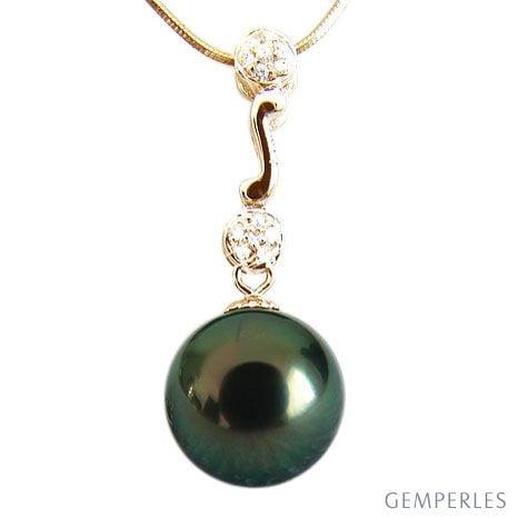 Pendentif Andros - Perle de Tahiti - Or jaune, diamants