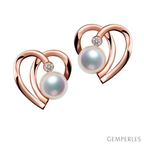 Boucles Coeur contemporain Or rose. Perles Akoya, Diamants.