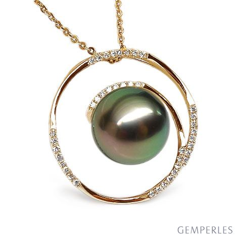 Pendentif cercle - La roue tourne - Perle de Tahiti - Or jaune, diamants