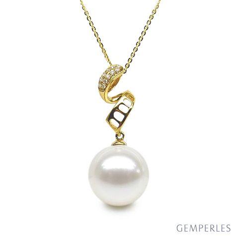 Pendentif serpentin et tortillon - Or jaune, perle Chine - Diamants
