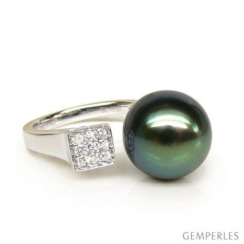 Création bague or blanc - Perle de Tahiti - Pavage diamants