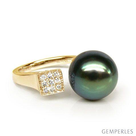 Création bague or jaune - Perle de Tahiti - Pavage diamants