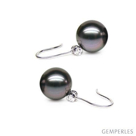 Boucles oreilles crochets - Perles de Tahit - Or blanc, diamant
