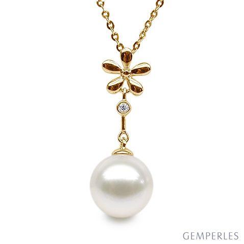 Pendentif fleur -  Or jaune - Perle de culture blanche