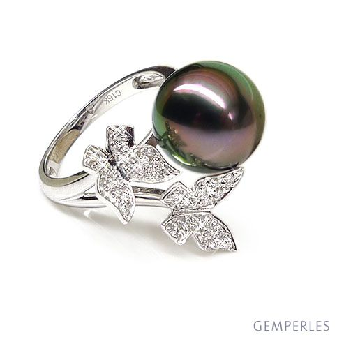 Bague papillons gracieux - Perle de Tahiti - Or blanc, diamants