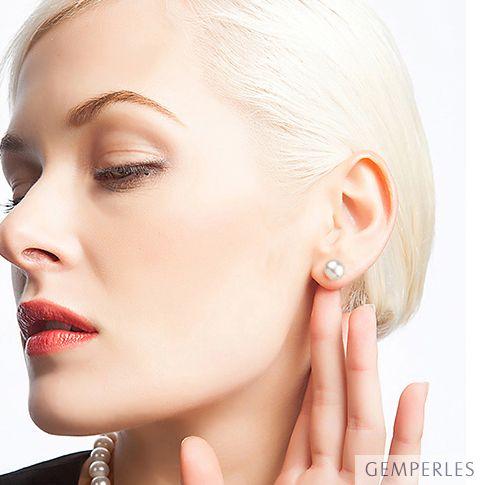 Boucles d'oreilles perles eau douce blanches - 8/9mm - Clous or jaune - 2