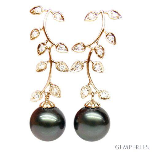Boucles d'oreilles Nature - Perles de Tahiti noires - Or jaune, diamants