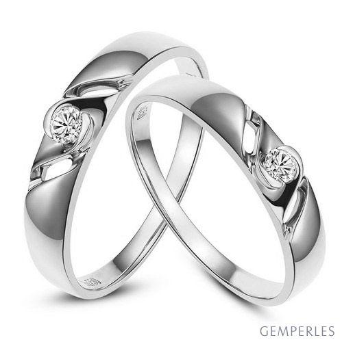 Bijoutier alliances de fiançailles - Alliances Duo diamants - Or blanc