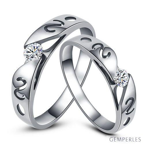 Mes alliances de mariage - Alliances Duo originales or blanc, diamants