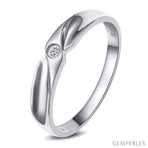 Alliance originale or blanc - Alliance Homme - Diamant