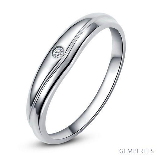 Modèle alliance mariage - Alliance classique Femme - Or blanc, diamant