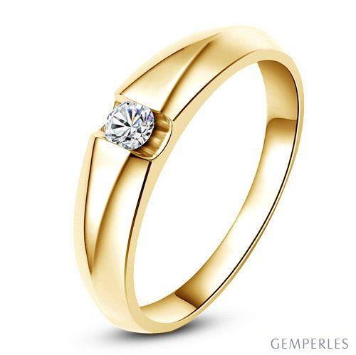 Alliance solitaire or jaune - Bague alliance diamant pour Femme