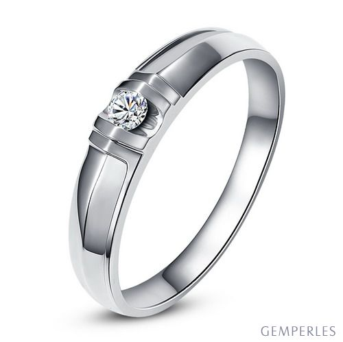 Bague alliance - Alliance Femme - Or blanc - Diamant 0.049ct