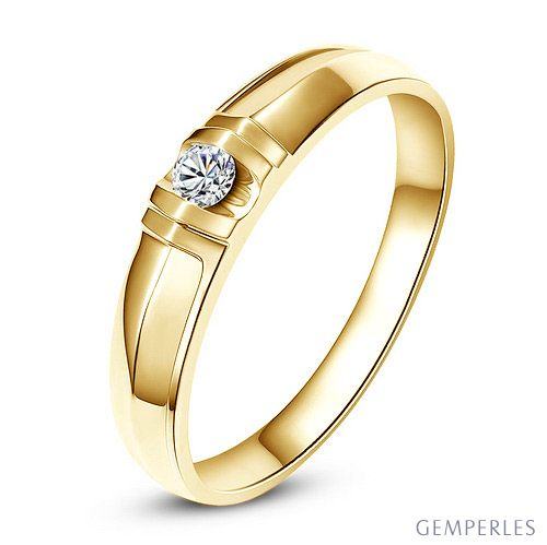 Alliance solitaire sophistiqué - Alliance femme - Or jaune, Diamant