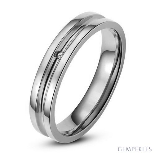 Bague alliance Homme - Anneau diamant or blanc - 2