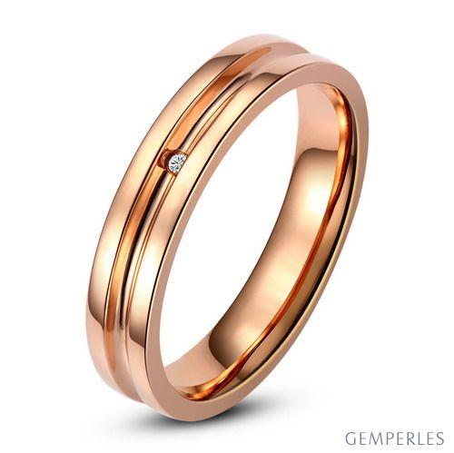 Bague alliance Homme - Anneau diamant or rose - 2