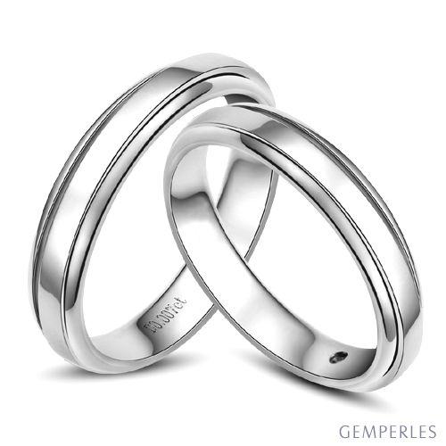 Anneaux d'or blanc 750/1000 - Alliances androgynes duo - Diamants