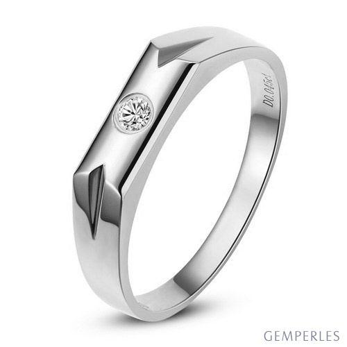 Alliance moderne pour Femme. Or blanc. Diamant 0.032ct