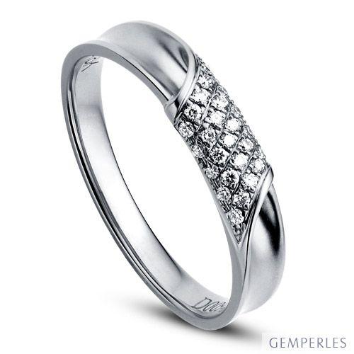 Alliance Femme - Or blanc - Diamants 0.105ct