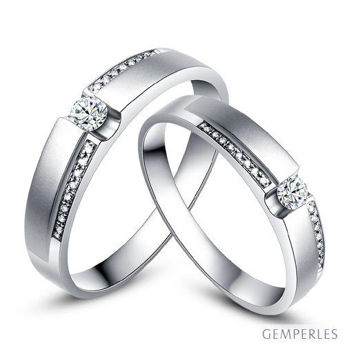Alliances solitaires or blanc 750/1000 - Bagues Duo diamants