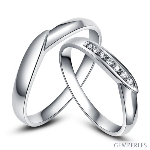 Alliance de mariage duo - Or blanc - Diamant
