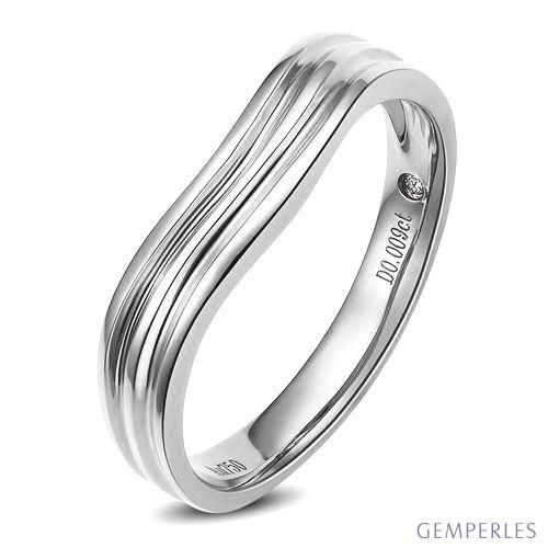 Alliance ondulée motifs striés - Or blanc 18cts - Diamant - Homme