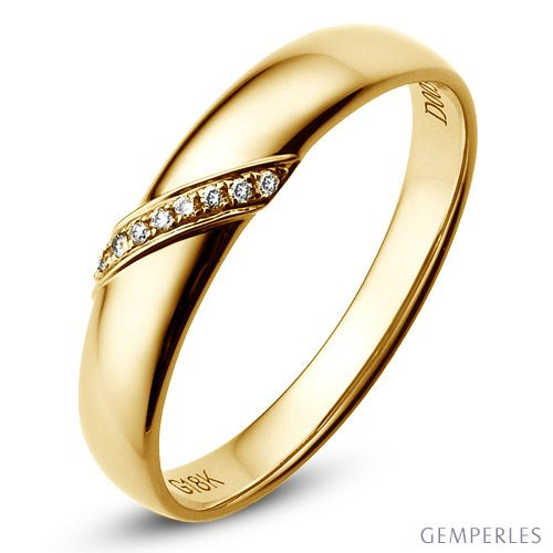 Alliance Homme. Or jaune. Diamants 0.03ct