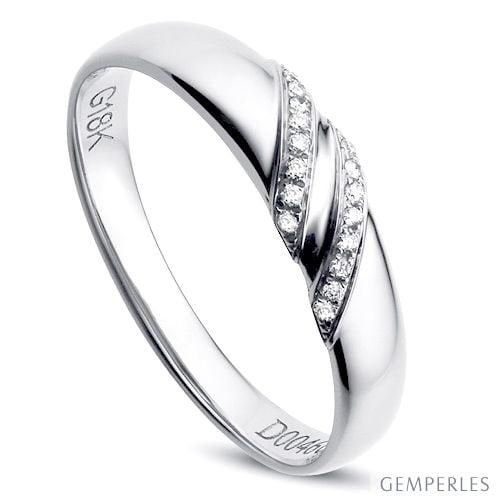 Alliance Femme - Or blanc - Diamants 0.044ct