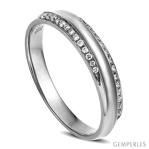 Alliance Femme. Or blanc. Diamants 0.11ct