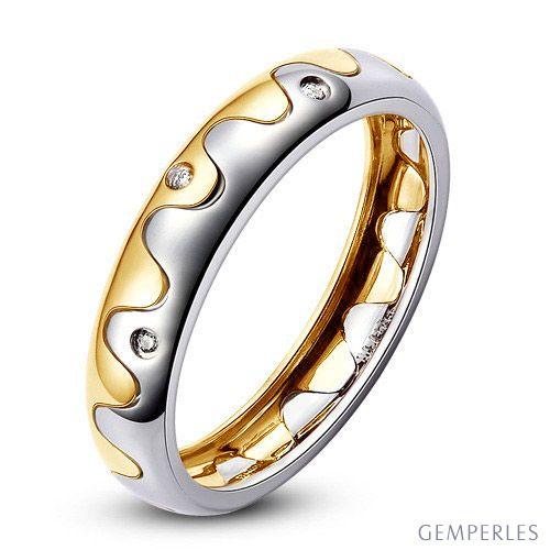 Alliance 2 ors - Alliance Femme or blanc et jaune - Diamants