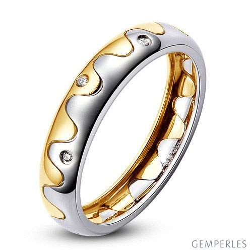 Alliance 2 ors - Alliance Homme or blanc et jaune - Diamants