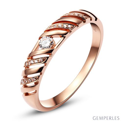 Alliance Femme. Or rose. Diamants 0.089ct