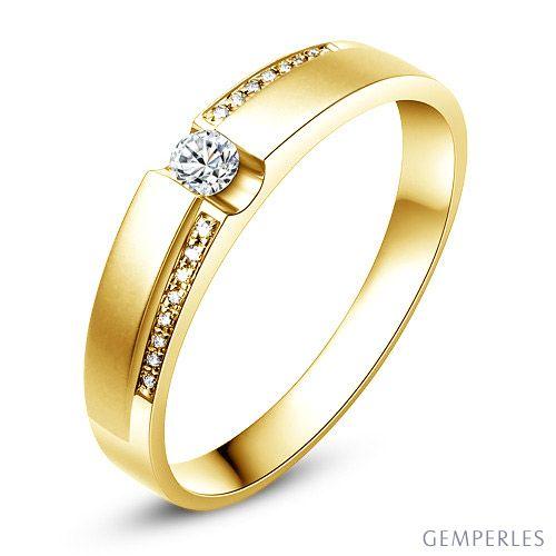 Alliance solitaire or jaune 750/1000 - Bague Homme diamants