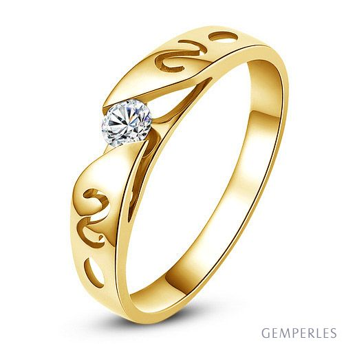 Mon alliance de mariage - Alliance originale or jaune, diamant - Homme