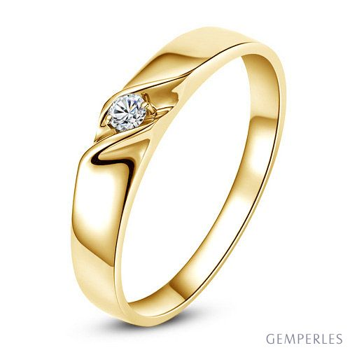 Alliance mariage en or - Alliance Homme - Or jaune 18 carats - Diamant