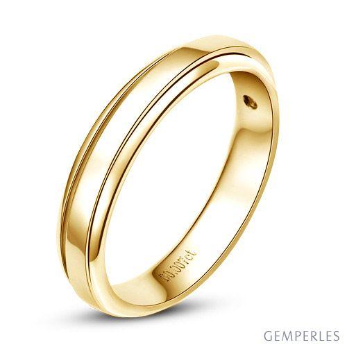 Anneau d'or jaune 750/1000 - Alliance androgyne Femme - Diamant