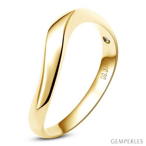 Alliance ondulée or jaune - Alliance homme avec diamant