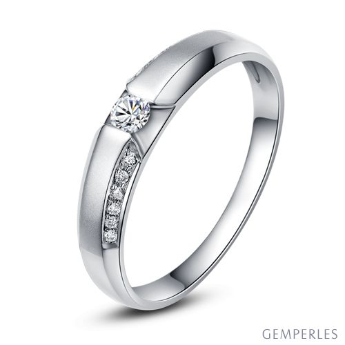 Achat alliance mariage - Alliance Solitaire Femme - Or blanc, diamants