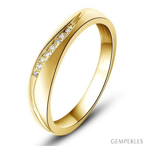 Alliance or mariage - Alliance diamants - Or jaune, Homme