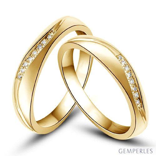 Alliances or mariage - Alliances diamants - Or jaune, Couple