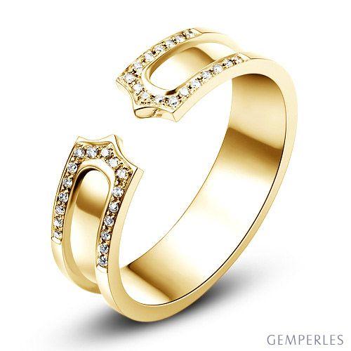 Alliance or jaune originale - Anneau discontinu pour Elle - Diamants