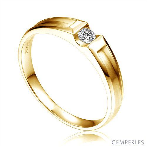 Alliance solitaire diamant -  Alliance Femme or jaune 18cts