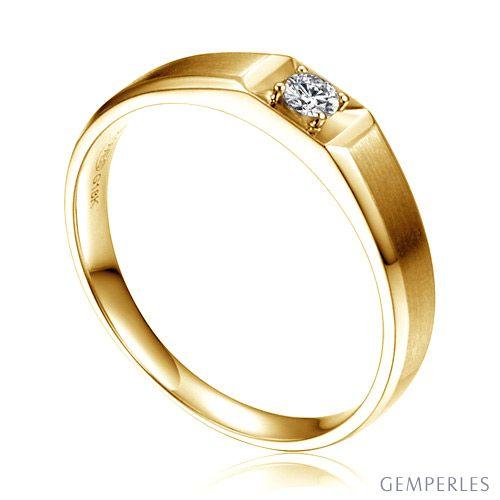 Anneau solitaire Homme - Alliance or jaune diamant serti grain