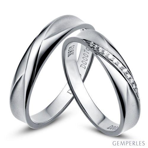 Duo d'alliances prestige - Design en diagonale -  Platine, diamants
