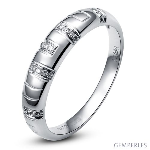 Bague homme - Or blanc 18 carats et Diamants