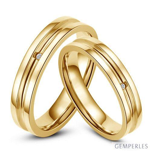 Bagues alliances Duo - Anneaux diamants or jaune