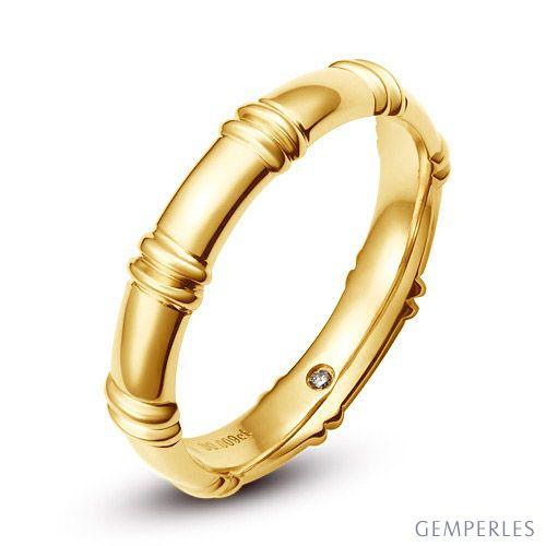 Alliance en or jaune 18 carats - Alliance diamants pour Homme